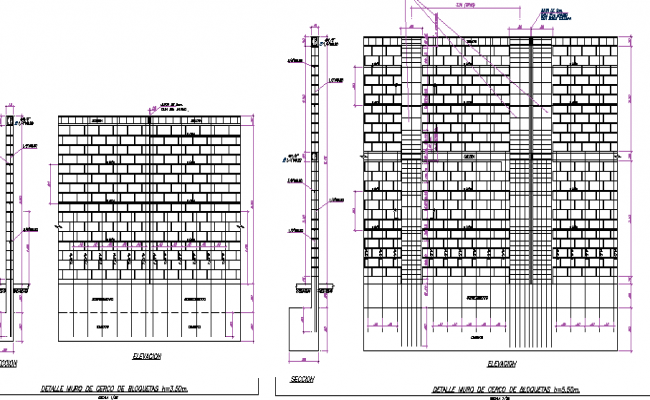 Brick wall sectional and construction details of office dwg file