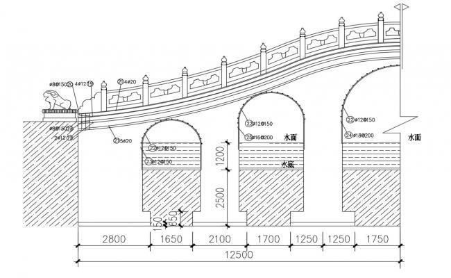 Bridge Elevation With Railing Design AutoCAD File