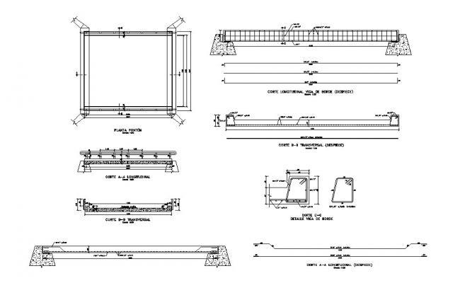 Bridge elevation, section, plan and construction details dwg file