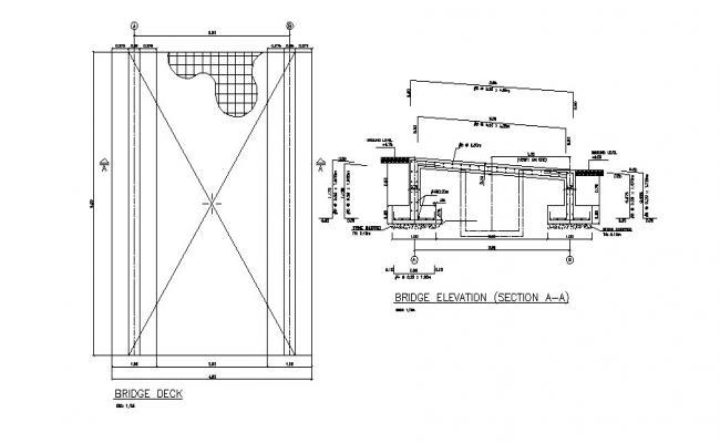 Bridge elevation and bridge deck construction details dwg file