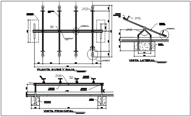 Bridge plan, elevation and section detail dwg file