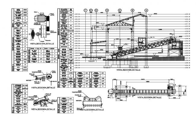 Bridge section, plan and construction cad drawing details dwg file