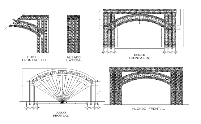 Bridge section and elevation CAD structure 2d view layout file