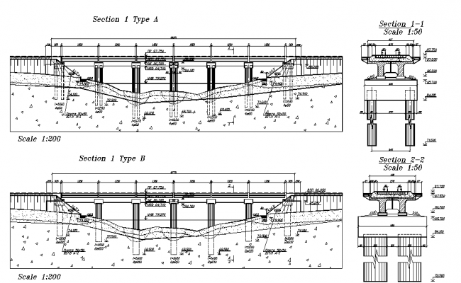 Bridge sectional elevation dwg file