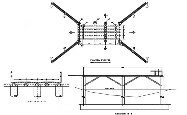 Bridge steel pipes plan detail dwg file