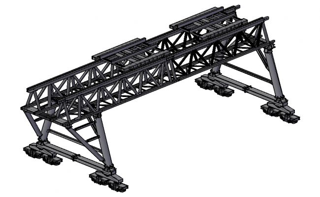 Bridge structure 3d model detail elevation autocad file