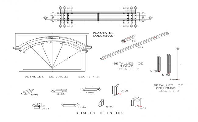 Bridge structure detail elevation 2d view layout dwg file