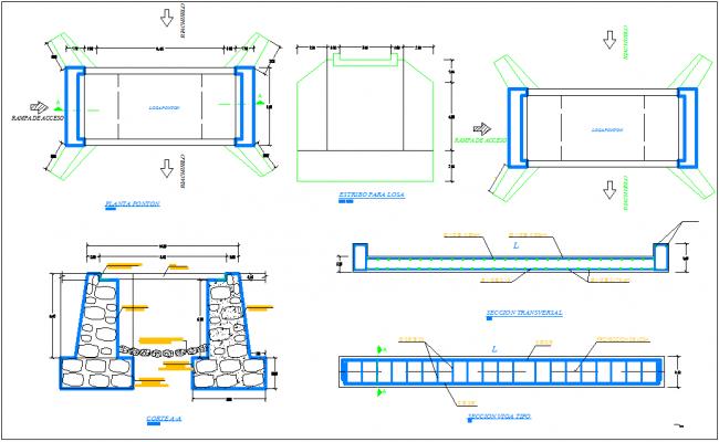 Bridge structure detail section view dwg file
