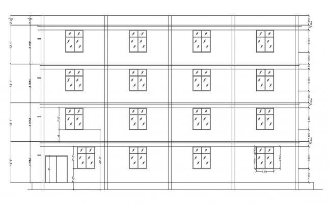 Building Elevation Design AutoCAD File