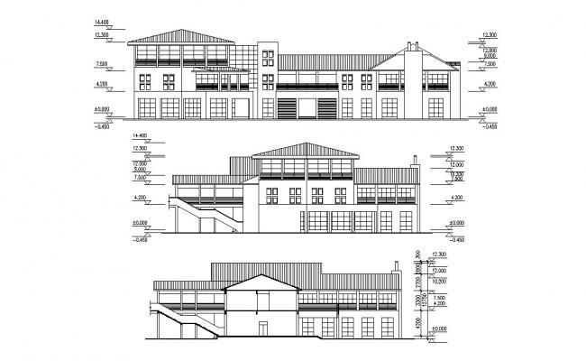 Building Elevation Layout Design AutoCAD Plan