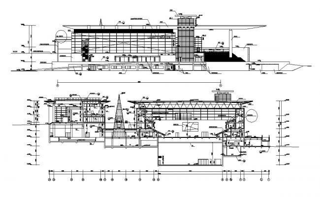 Building Elevation and Section Drawing