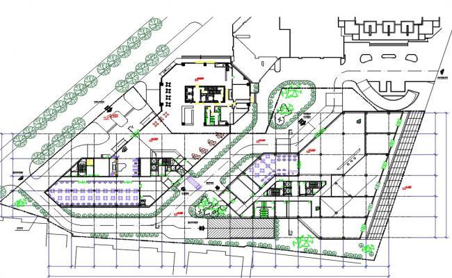 Building Ground Floor Plan DWG File