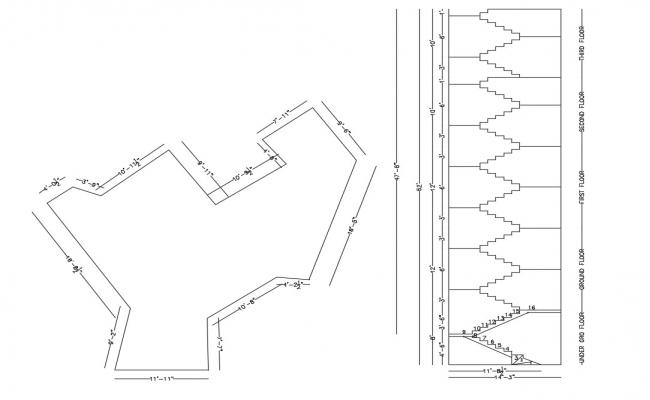 Building Line Drawing With Staircase DWG File