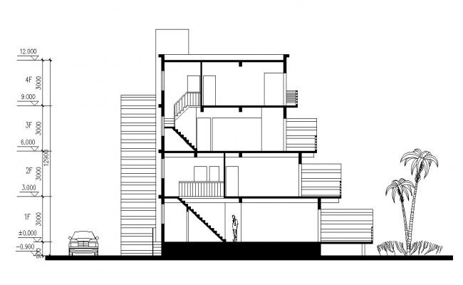 Building Section Drawing AutoCAD File Free
