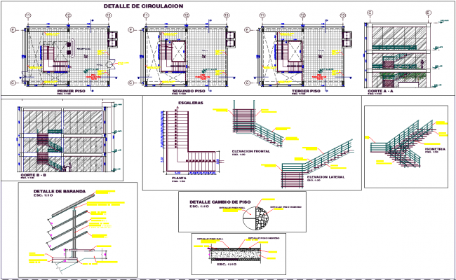 Building Staircase Detail with Elevation Design dwg file