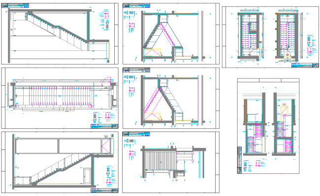 Building Staircase layout plan with Elevation Design
