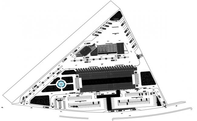Building Top View CAD Drawing