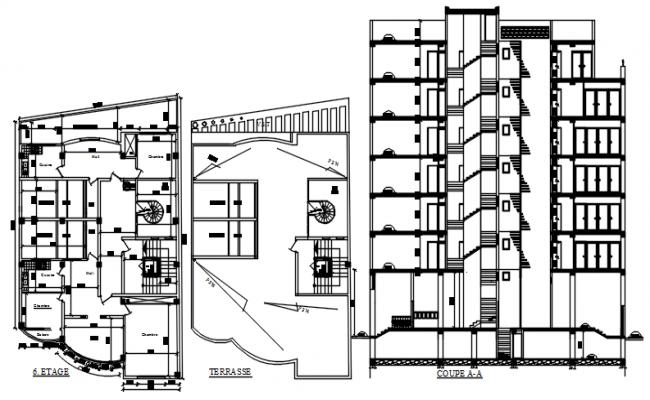 Apartment Building Design Plan In AutoCAD File