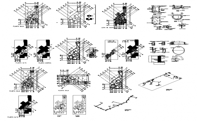 Building detail plan 2d view layout autocad file
