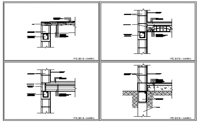 Building detail with walls block design drawing