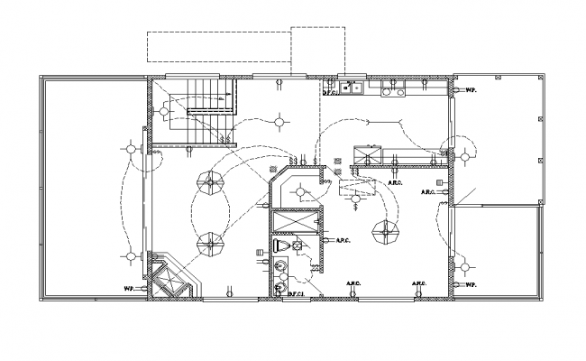 Building electrical installation 2d view layout autocad file