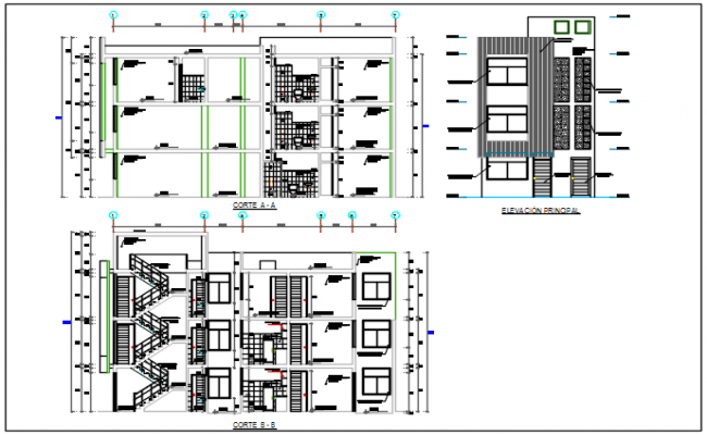 Building elevation and section plan detail dwg file