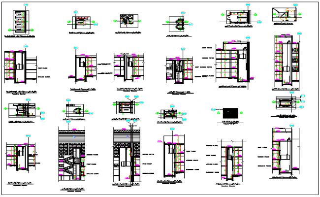 Building elevators information dwg file