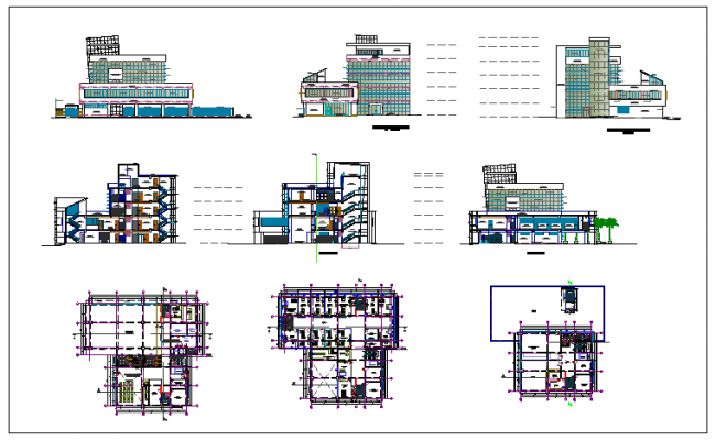Building exterior elevation view detail dwg file