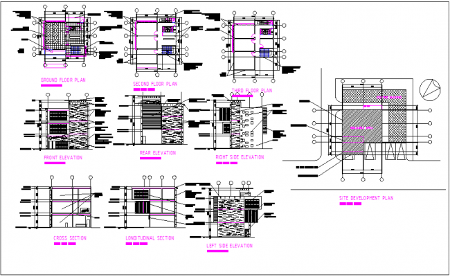 Building floor plan view detail and elevation section view detail dwg file