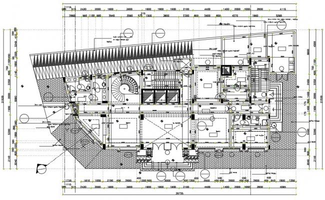 Building floor plan with detail dimension in autocad