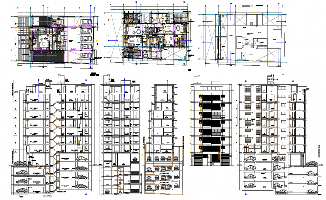 Building plan and design layout with elevation section view dwg file