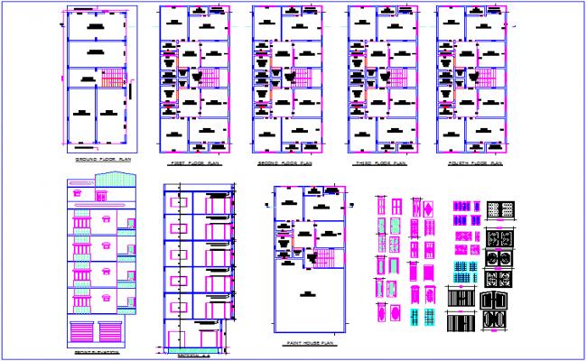 Building plan and elevation view with door view and door design dwg file