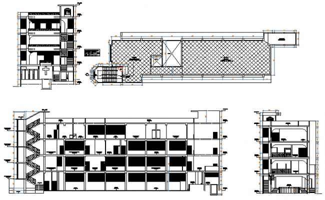 Section Elevation Plan View : Building plan elevation section over view dwg file