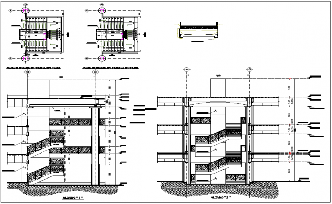 Building section view detail and stair plan view detail dwg file