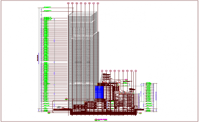 Building sectional elevation view of structural view dwg file