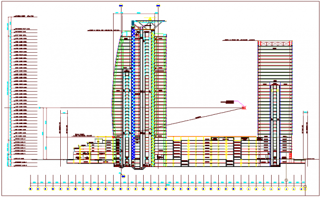 Building sectional view with floor view and floor level dwg file