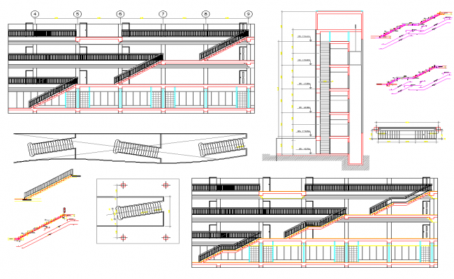 Building staircase plan dwg file