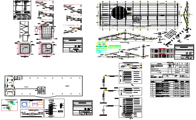 Building stricture and roof plan detailing view dwg file