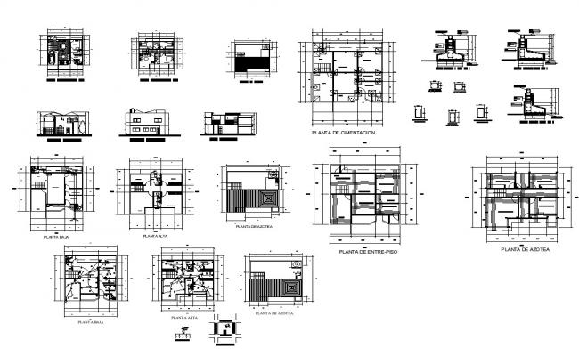 Building structure and electrical installation detail 2d view layout autocad file