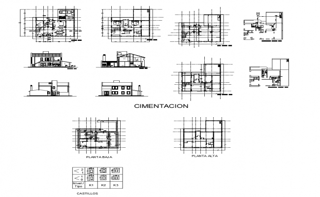 Building structure detail elevation and section 2d view layout dwg file