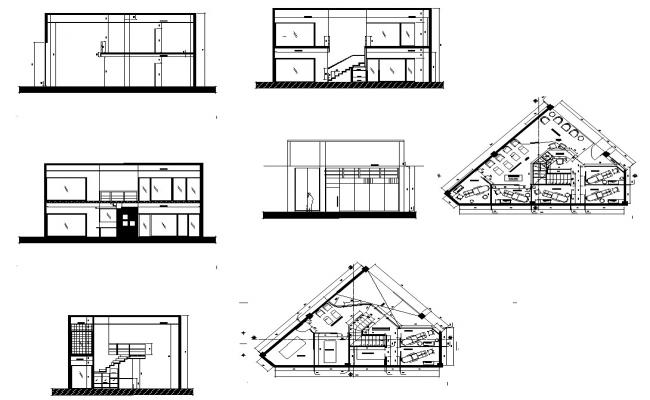 Building structure detail plan and elevation 2d view layout file in dwg format