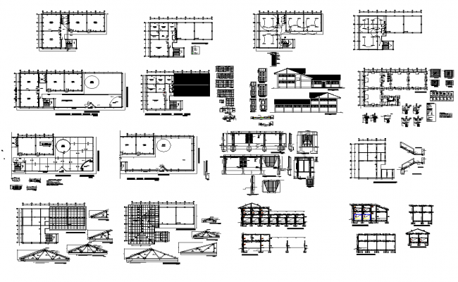 Building structure detail section and plan layout file in autocad format