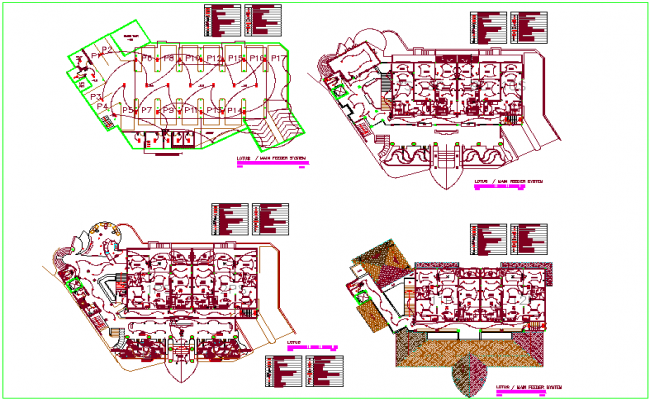 Building view with electric feeder plan systems with underground view dwg file
