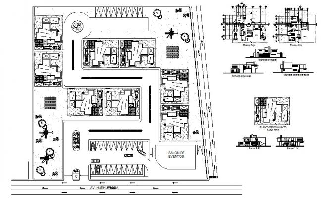 Bungalow 18.71mtr x 13.75mtr with elevation and section in autocad