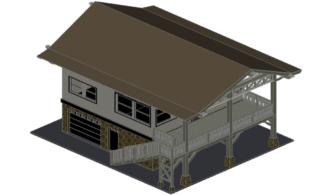 Bungalow 3 d plan detail