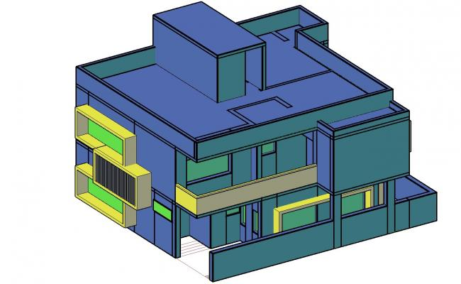Bungalow 3D Elevation With Basic Rendered In AutoCAD File Free Download