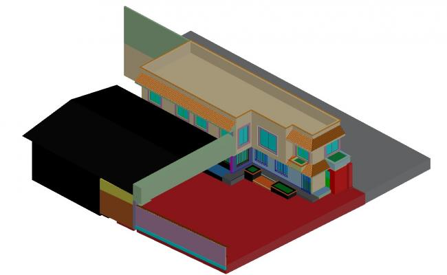 Bungalow 3d model Design AUuoCAD Drawing