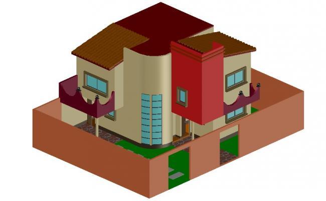 Bungalow 3d model Design AutoCAD Drawing