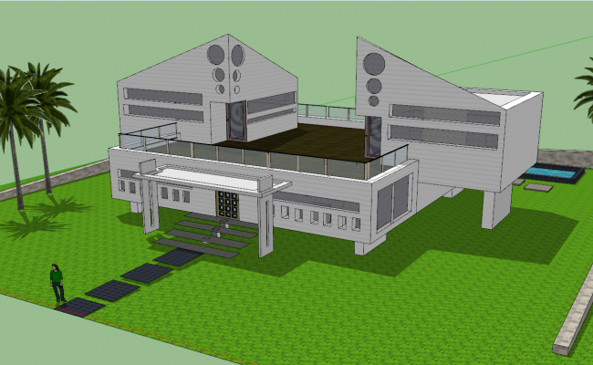 Bungalow 3d view skp file
