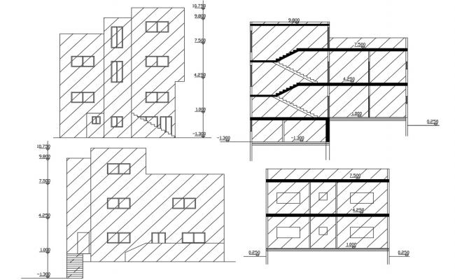 Bungalow Building Sectional Elevation Design With Dimesion